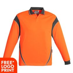 SYZMIK Mens Hi Vis Aztec Polo - Long Sleeve Thumbnail