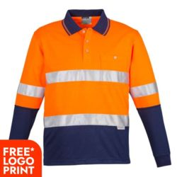 SYZMIK Mens Hi Vis Spliced Polo - Long Sleeve Hoop Taped Thumbnail