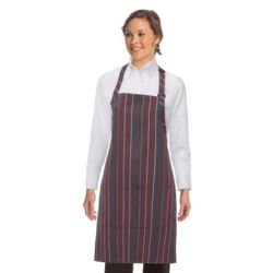 CHEF WORKS Grey/Red Striped Bib Apron Thumbnail