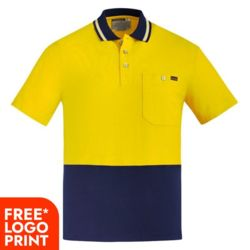 SYZMIK Mens Hi Vis Cotton S/S Polo Thumbnail