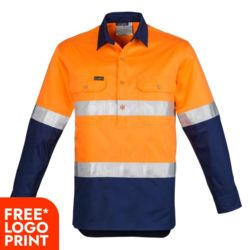 SYZMIK Mens Hi Vis Closed Front L/S Shirt Thumbnail