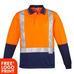Mens Hi Vis Spliced Polo - Long Sleeve Shoulder Taped Thumbnail