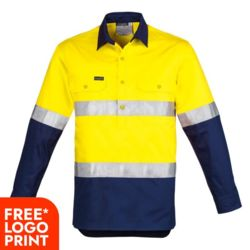 Mens Hi Vis Closed Front L/S Shirt - Hoop Taped Thumbnail