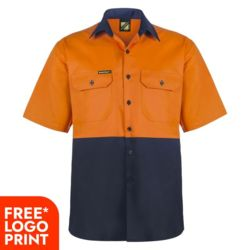 Mens Lightweight Hi Vis Two Tone Short Sleeve Vented Cotton Drill Shirt  Thumbnail