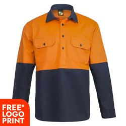 Mens Half Placket Cotton Drill Shirt With Semi Gusset Sleeves  Thumbnail